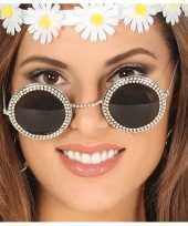 Hippie flower power verkleed zonnebril met ronde glazen trend