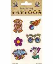Hippie plak tattoo 6 stuks trend