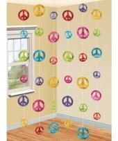 Hippie thema peace hangdecoratie 6 stuks trend