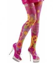 Hippy panty met bloemen 40 den trend