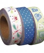 Hobby artikelen washi tape set 3 stuks bloemenprint groen trend