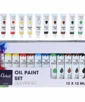 Hobby knutsel olieverf in 12 kleuren 12 ml trend