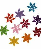 Hobby vilt 10 gekleurde vilten ster bloemen 4 cm trend
