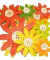 Hobby vilt 12 geel oranje groen vilten bloemen met knoop 3 5 7 c trend