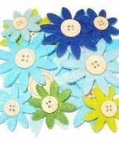 Hobby vilt 12 grijs groen blauw vilten bloemen met knoop 3 5 7 c trend