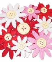 Hobby vilt 12 rood wit roze vilten bloemen met knoop 3 5 7 c trend