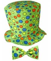 Hoge fun hoed groen met strik trend