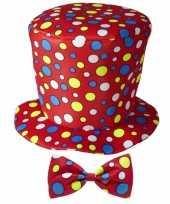 Hoge fun hoed rood met strik trend