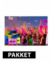 Holi poeder pakket roze lichtblauw en geel trend