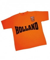 Holland tekst t-shirt oranje met patch trend
