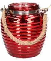 Home deco windlicht lantaarn rood 16 cm trend