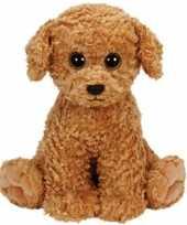 Hond honden speelgoed artikelen ty beanie hond knuffelbeest luke bruin 24 cm trend