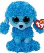 Hond honden speelgoed artikelen ty beanie poedel knuffelbeest mandy blauw 24 cm trend