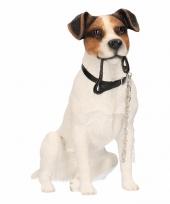 Honden beeldje jack russel hond met riem 15 cm trend