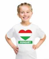Hongarije hart vlag t-shirt wit jongens en meisjes trend