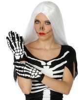 Horror skelet handshoenen zwart wit voor dames trend