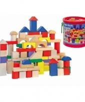 Houten bouwblokken in ton 100 stuks trend