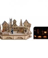 Houten kerstdorp met verlichting 19 cm trend