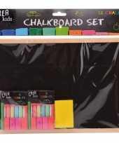 Houten krijtbord schoolbord 29 cm met krijt en bordenwisser trend