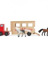 Houten speelgoed paarden trailer trend