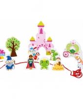 Houten sprookjeskasteel speelgoed set 12 delig trend
