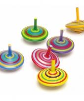 Houten tollen gekleurd 6 stuks trend