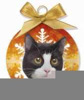 Huisdieren kerstballen kat zwart wit trend