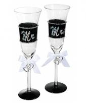 Huwelijk champagneglazen 24 cm trend