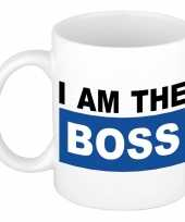 I am the boss mok beker blauw 300 ml trend
