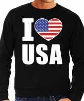 I love usa sweater trui zwart voor heren trend