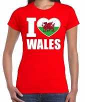 I love wales t-shirt verenigd koninkrijk rood voor dames trend
