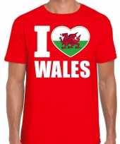 I love wales t-shirt verenigd koninkrijk rood voor heren trend