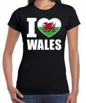 I love wales t-shirt verenigd koninkrijk zwart voor dames trend