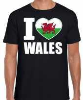 I love wales t-shirt zwart voor heren trend