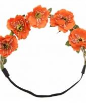 Ibiza stijl haarbandjes met oranje bloemen trend