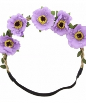 Ibiza stijl haarbandjes met paarse bloemen trend