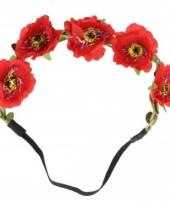 Ibiza stijl haarbandjes met rode bloemen trend