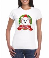 Ijsbeer kerst t-shirt wit merry christmas voor dames trend