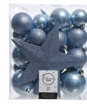 Ijsblauw kerstballen pakket met piek 33 stuks trend