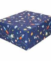Inpakpapier cadeaupapier donkerblauw raketten 200 x 70 cm op rol trend