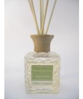 Interieur parfum met geurolie met stokjes groene bamboe 80 ml trend