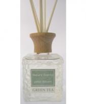 Interieur parfum met geurolie met stokjes groene thee 80 ml trend