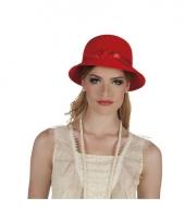 Jaren 20 hoedje rood met lint trend