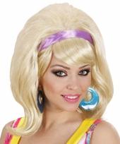 Jaren 60 pruik blond met haarband trend