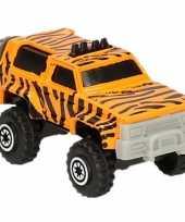 Jeep safari speelgoedauto tijger print 7 cm trend