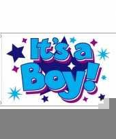 Jongens geboorte vlag 90 x 150 cm trend