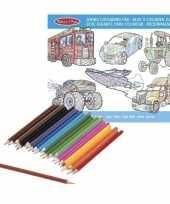 Jongens kleurboek met kleurpotloden set trend