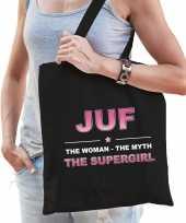 Juf the legend katoenen cadeau tas zwart voor dames trend
