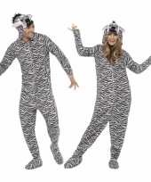 Jumpsuit zebra all in one voor volwassenen trend