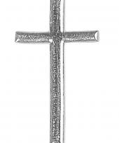 Kaars versiering zilveren kruis 4 cm trend